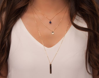 Personalized layered necklaces with bar, disc and gemstone, Unique-Gift-for-Wife Layered and Long necklaces