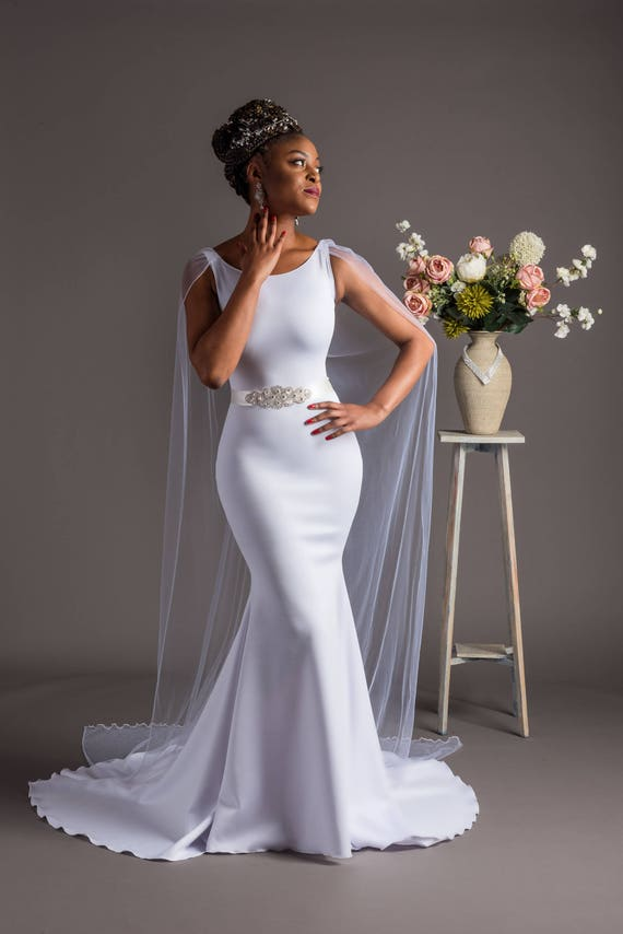 Ivory fishtail wedding dress with cape mermaid wedding dress