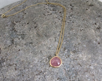 READY TO SHIP Sale 18kt yellow gold and free form rose cut pink sapphire pendant necklace 16in cable chain