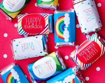 Rainbow Party PRINTABLE Mini Candy Bar Wrappers (INSTANT DOWNLOAD) by Love The Day