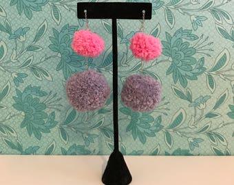 Pom Pom Earrings // Light Purple and Pink