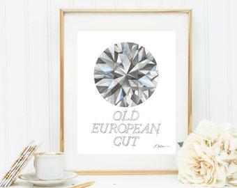Old European Cut Diamond Watercolor Rendering printed on Paper