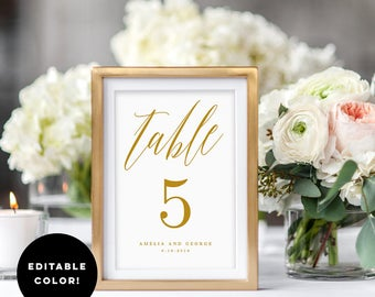 Editable Color Table Number Card, MODERN SCRIPT - Printable Wedding Table Number Template - Instant Download #MSC