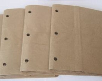 6X6 SEWN  paper bag scrapbook albums\/piecing- 4 BROWN books  3 holes