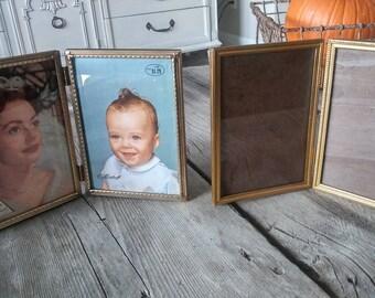Vintage Metal Frames / Set of 2 5 x 7s/ Metal Frames / Ornate Frames / Hollywood Chic / Mid Century