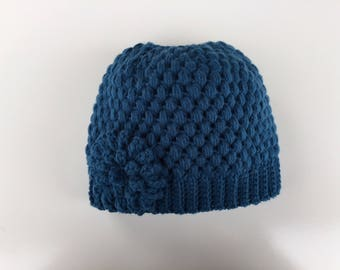 READY TO SHIP/Messy Bun Hat/Blue/Crochet/Knit Hat/Beanie/Cap/Flower/Ponytail Hat/Adult/Women/Ladies/Girls/Thick Chunky/Winter/Warm Hat/Toque