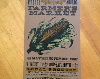 CORN POSTER Foodie print Farmers market print Farming art Kitchen art Gift for farmers Letterpress poster Hand printed Vegetable art print