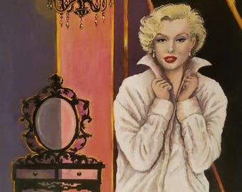 Hollywood Glam Decor Pink and Black Marilyn Monroe First Edition Print 11x14 inch Hollywood Movie Star Portrait