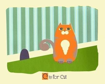 Nursery Alphabet Art Print - C is for Cat - hand screenprinted Animal Art Pprint
