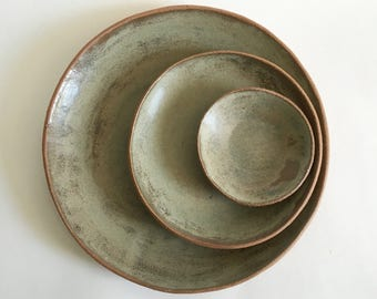 Ceramic Dinner Plates, Salad and Dessert Plates, Tapas Plates, Made to Order Handmade Stoneware Pottery Dishes in Matte Ash-Gray/Green