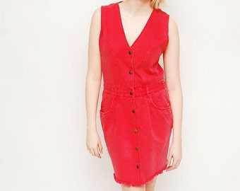 Vintage 90s Jean Dress - Red, Grunge, Blossom, Denim, All Week Long, Size 8, Jumper, Jean, Button Up