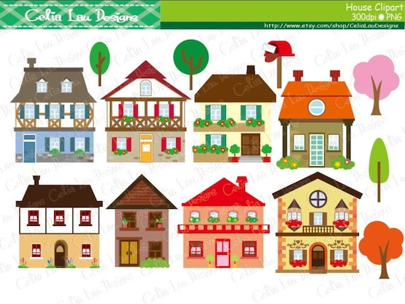 house clipart houses clip art buildings homes cute houses instant download cg136 - Cute Houses Pictures