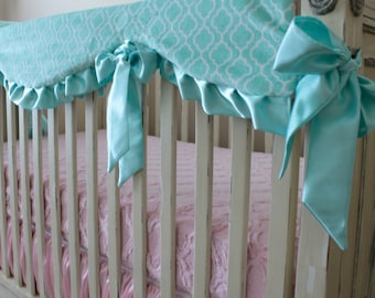 Opal - Saltwater Blue Trellis- Lattice Minky with Baby Pink Lattice Back, Satin Trim and Ties, Reversible Rail Guard Cover, Crib bedding
