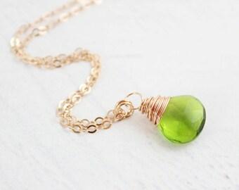 Green Quartz Necklace, Quartz Gemstone Necklace, Rose Gold Necklace, Rose Gold Gemstone Necklace, Stone Pendant Necklace, Bright Green