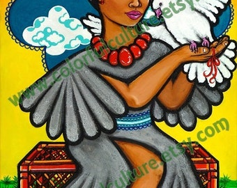 Fly Dove Fly - A Volar Paloma - Art Print by Karina Gomez -Mexican Folk Art- Printed on Fade Free Archival Matte Paper