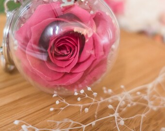 Customized preserved flower keychain/purse and bag accessory/5 cm real flower sphere ball keychain/customized bag charm