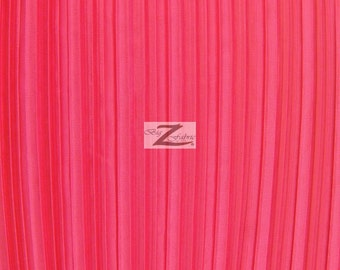 """Shiny Pleated Plisse Satin Fabric - FUCHSIA - Sold By The Yard 59"""" Width"""