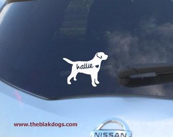 Labrador Retriever Silhouette Vinyl Sticker - personalized Car Decal