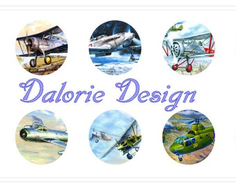25 mm, Airplanes, Collage, Planche d'Images Digital - Airplanes - pour cabochons ronds 25 mm