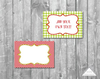 Red and Green Chevron and Polkadot Christmas Labels - Printable PDF - EDITABLE - Instant Download
