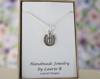 Cross and Horseshoe Charm Necklace, Friendship Gift, Sterling Silver, Cross Charm, Lucky Charm, Religion Necklace, Thank you card
