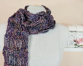 Lightweight Crochet Scarf in Plum, Indigo, Brown & More - Item 1339
