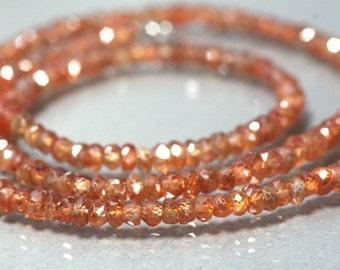 Genuine Natural orange zircon necklace / Zir06 / natural gemstone necklace / birthstone gift present rare gemstone beads