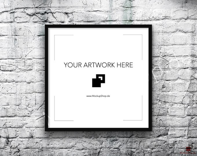 Square BLACK FRAME MOCKUP, old White Brick Background, Digital Styled Photography Poster Mockup, Framed Art, Instant Download Mockup File