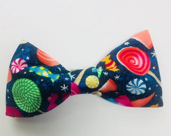 """Candy Galaxy Print Hair Bow OR Dog Bow Tie for 1""""-1.5"""" Collar"""