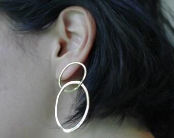 Statement earrings-Statement hoop earrings-24 kt gold vermeil earrings-Gold hoop earrings-Infinity earrings