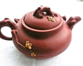 Chinese Teapot - Antique Teapot - Yixing Teapot - Signed - Asian Teapot -  Red Clay Teapot - Prunus Blossom Decoration -Branch Handle- China