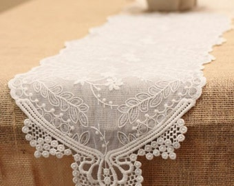 """12"""" x 74"""" Ivory Lace Runner"""