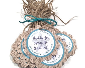 Rustic Beach Favor Tags, Personalized Favor Tags, Beach Wedding Favor Tags, Thank You Favor Tags Personalized Party Favor Tags Starfish Tags