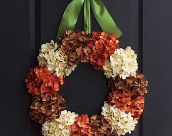 Fall Hydrangea Wreaths - Fall Wreaths - Fall Hydrangea Wreaths for Front Door - Outdoor Fall Wreaths - Large Hydrangea Wreath