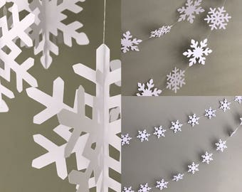 Winter snowflake decorations PACK-Winter wedding decorations-Hanging white snowflakes-Large snowflakes garlands-Small snowflake garlands