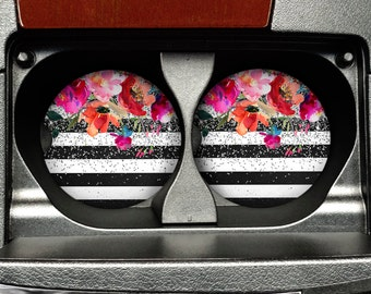 Floral Watercolor Car Coaster - Black White Stripe Sandstone Car Coaster - Rose Silver Glitter