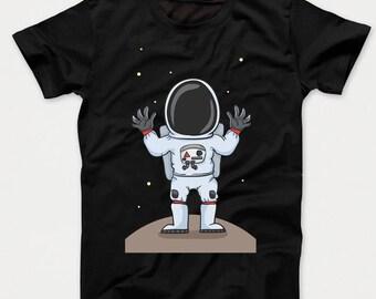 Cartoon Astronaut On The Moon Kids T-Shirt
