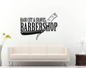 Hair Cut Shaves Barber Barbershop Salon Stylist Blade Wall Sticker Decal Vinyl Mural Decor Art L2335