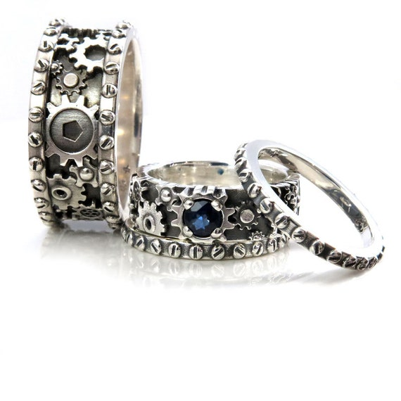 His and Hers Gears and Rivets Wedding Ring Set Sterling