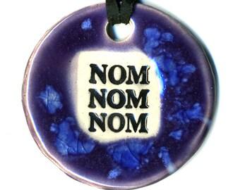Nom Nom Nom Ceramic Necklace in Purple