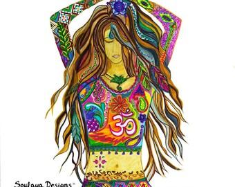 YogaPrint-yoga painting- yoga art-Yoga pose- yogi girl-Yoga Gift-yoga decoration-yoga studio decoration-contemporary art-canvas art-original