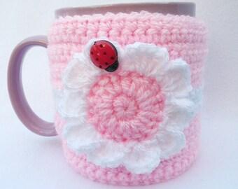 Hand crocheted mug cosy - pink flower with ladybug - mother's day gift - mug cosies - mug hug - gifts for her