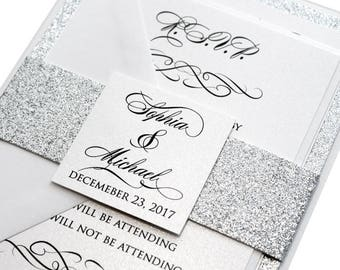 100 Classic Love Story Wedding Invitation Set - silver wedding, classic, silver glitter, luxurious invitation, shimmer invitation, printed