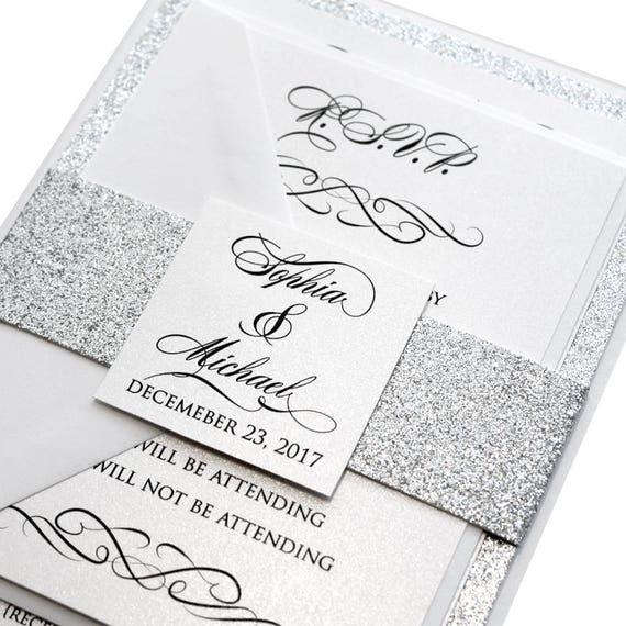 Classic Love Story Wedding Invitation Set Silver Wedding