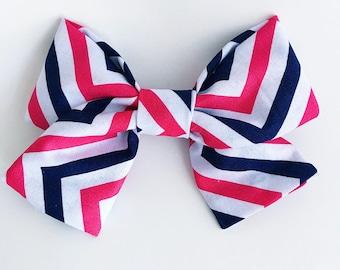 Pink & Navy Chevron Bow Clip