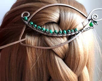 Large Hair Barrette Copper Hair Slide Hair Pin Hand Forged green leaf hair accessories Minimalist Wire Wrapped Jewelry Wire Work for women