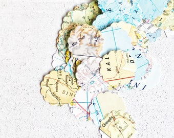 Map Confetti {100} | Travel Theme Party Decor | Table Scatter Confetti Decor | Map Party Decor | Map Wedding Decor