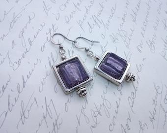 Square purple glass tile earrings