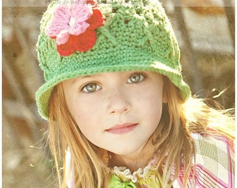 Light Sage Bucket Style Sun Hat 12-24 Months, Girl Crochet Sun Hat, Green Bucket Beanie, Baby Girl Hat, Hat for Girls, Children's Sun Hat