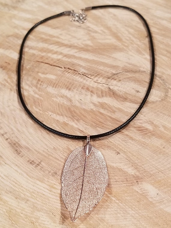 Silver Dipped Walnut Leaf Necklace Outdoor Rustic Earth Boho Nature Earth Collection (N403)